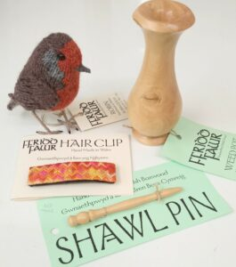 Wood-turned Shawl pin & vase; knitted Robin; Embroidered Hair Slide