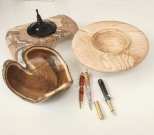 Wood-turned bowls and pens